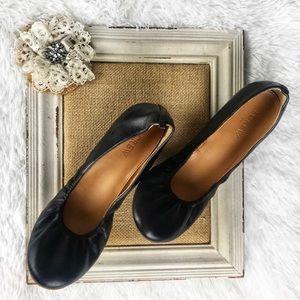 J Crew black leather ballet flats size 9